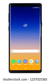 Koszalin, Poland – November 22, 2018: Samsung Note 9 are new generation smartphone from Samsung. The Samsung Note 9 is smart phone with multi touch scren