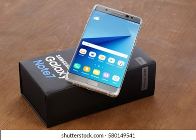 "Koszalin, Poland – September 02, 2016:The new photo of silver Samsung Galaxy Note 7. Samsung Note 7 are ""new generation"" smartphone from Samsung"