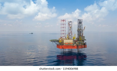 KOTA BAHRU, KELANTAN, MALAYSIA - APRIL 23, 2018: Velesto NAGA 8 jack-up drilling rig at North Malay Basin gas development field for exploration well campaign.