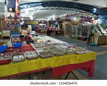 KOTA BAHRU, MALAYSIA - August, 2018: View of grocery booth in Siti Khadijah Market in Kota Bahru, Kelantan, Malaysia. Siti Khadijah Market is an all lady Muslim market.