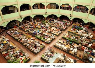 KOTA BAHRU, MALAYSIA - MAR 6, 2011: Interior facade of Siti Khadijah Market in Kota Bahru, Kelantan, Malaysia. Siti Khadijah Market is an all lady market in the muslim enclave of Kelantan.