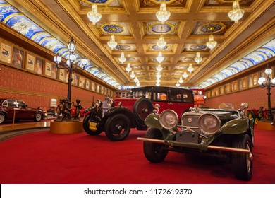 Kota Batu, Malang, Indonesia - July 12, 2018: Historical antique cars and motorbikes on display at Museum Angkut - biggest transport exhibition in Indonesia (Part of recreational Jawa Timur Park).