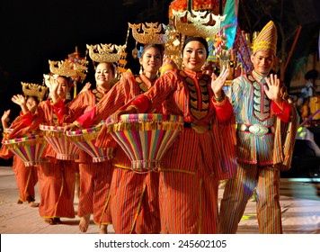 Kota Belud, Sabah, Malaysia, Oct 18, 2014 : Parade participants from the Iranun ethnic wave to the audience during the 4th Usunan Festival competition in Kota Belud, Sabah, Malaysia.