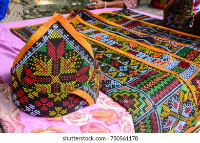 Kota Belud Sabah Malaysia - Oct 28, 2017: Colorful handmade craft on display.  Tamu is a place to sell and buy goods and food, where farmers and artisans gather to market their products.