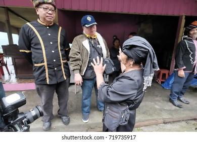 Kota Belud Sabah Malaysia-Jul 3,2015 : Group of Dusun ethnic bobolian performing ritual to appease the spirit of Akinabalu the guardian of Mount Kinabalu.The rituals held after quake hit the mountain.