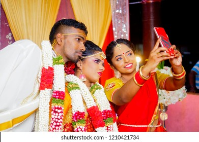 Kota Bharu, Kelantan, Malaysia, 14th September 2018 -  The traditional wedding of indian people is happening at the temple. Indian traditional marriage ceremony that's full of tradition and culture.