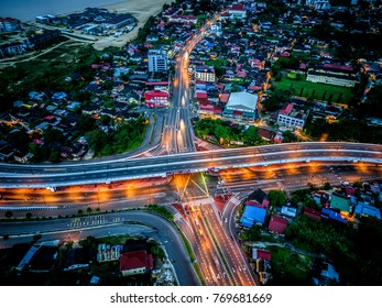 Kota Bharu , Kelantan , Malaysia 6th December 2017 - Aerial view of Road Junction and Intersection at Kota Bharu, Kelantan in blue hour.