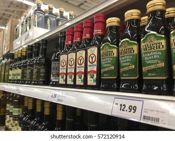 Kota Bharu, Kelantan, Malaysia - February 4, 2017 ; A various brand of olive oil for customer at Tesco hypermarket in Kota Bharu, the largest hypermarket in Kelantan.