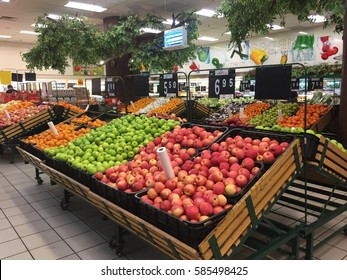 Kota Bharu, Kelantan, Malaysia - February 21, 2017; A lot of fruit for customer selection on shelf in Billion Supermarket at Kota Bharu.
