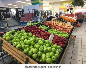 Kota Bharu, Kelantan, Malaysia - February 21, 2017; A lot of fruit for customer selection on shelf in Billion Supermarket at Kota Bharu.