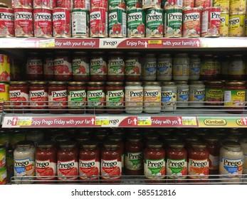 Kota Bharu, Kelantan, Malaysia - February 21, 2017; A variety of Prego product in Billion Supermarket at Kota Bharu. Prego, a variety of sauces including Italian pasta, alfredo and pizza sauces.