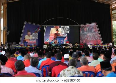 KOTA BHARU,KELANTAN - 21 jULY 2017 : A co-leader of the people attended by Malaysia's deputy prime minister Datuk Seri Ahmad zahid Hamidi at the Tun Ghaffar Baba ykk,Padang Kala,peringat
