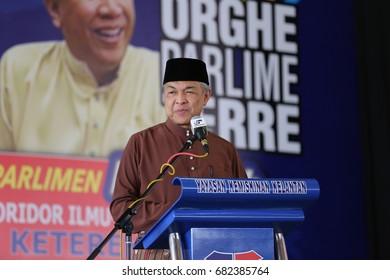 KOTA BHARU,KELANTAN - 21 jULY 2017 : Malaysian deputy prime minister Datuk Seri Ahmad zahid Hamidi delivered a speech in front of the people of ketereh at the tune board Ghaffar ykk, the past.