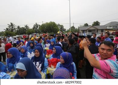 KOTA BHARU,KELANTAN - 21 jULY 2017 : A co-leader of the people attended by Malaysia's deputy prime minister Datuk Seri Ahmad zahid Hamidi at the Tun Ghaffar Baba ykk,Padang Kala,peringat.