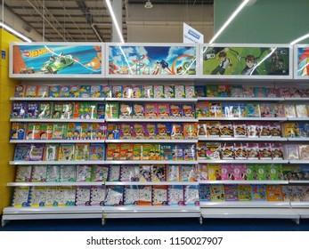 kota damansara, malaysia - august 4, 2018 : view of book at the supermaket shelf at storybook section