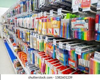 kota damansara, selangor, malaysia - april 27, 2019 : variety brand and product of stationery in supermarket shelf