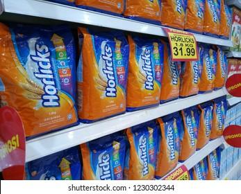 kota damansara, selangor, malaysia - november 11, 2018 : a pack of horlicks malted on supermarket shelf