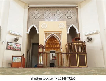 Kota Damasara, Selangor - June 18, 2018 : Interior view of Kota Damasara Mosque also know as Yellow Mosque at Kota Damansara, Selangor