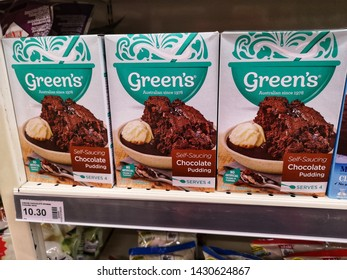 Kota Kemuning, Malaysia - 16 June 2019 : Green's Self Saucing Chocolate Puding box for sell display on the supermarket shelf with selective focus.