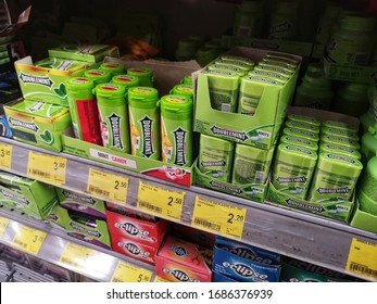 Kota Kemuning, Malaysia - 22 March 2020 : Assorted of Wrigley's Doublemint Mint flavour chew gum display for sell on the shelf in the supermarket.Mobile photoghpy.