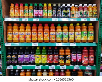 Kota Kemuning, Malaysia - 25 April 2019 : Assortment a Sunquick cordial bottle's displayed for sell at supermarket shelves with selective focus. Mobile photography.
