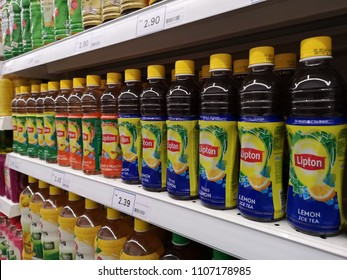 Kota Kemuning, Malaysia - 28 May 2018 : Line or row a plastic bottle of LIPTON Ice Lemon Tea flavour display for sell in the supermarket.