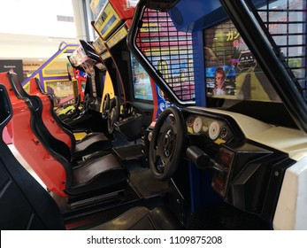 Kota Kemuning, Malaysia - 28 May 2018 : View a video game car racer machines for kids section in shopping mall.