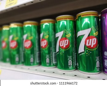 Kota Kemuning, Malaysia - 28 May 2018 : 7up sparkling lemon lime flavour can drinks display for sell in the supermarket shelf.