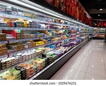Kota Kemuning , Malaysia - 2nd February 2018 : Supermarket interior view with shelves full of various cold products.