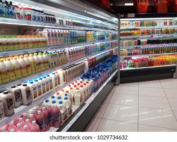 Kota Kemuning , Malaysia - 2nd February 2018 : Supermarket interior view with shelves full of assorted drink products.