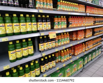 Kota Kemuning, Malaysia - 5 June 2018 : Assorted of SUNQUICK bottle's fruit juices neatly arranged in a supermarket shelves.