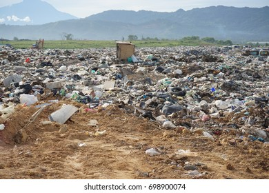 KOTA KINABALU, MALAYSIA - 09 JULY, 2017: The view of landfill site at Kayu Madang, Kota Kinabalu, Sabah.Malaysia.