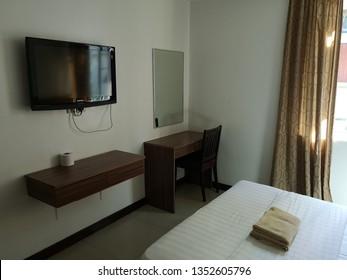 KOTA KINABALU, MALAYSIA - 28 MARCH, 2019 : Interior view of budget hotel in Kg Air, Kota Kinabalu, Sabah.