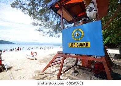 KOTA KINABALU, MALAYSIA- 29 JUN, 2017:  Sapi Island lifeguard post in Malaysia. Sapi Island is a favorite destination of tourists, who visit Kota Kinabalu