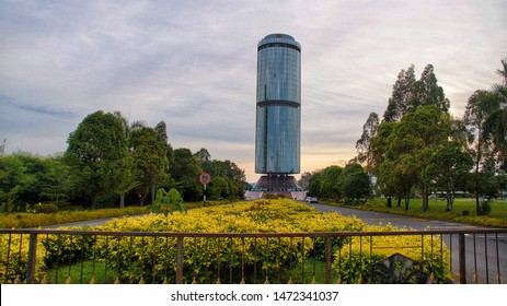 KOTA KINABALU, MALAYSIA- 30 JUNE, 2019: Tun Mustapha Tower, formerly known as the Sabah Foundation Building, glass stands 30 storeys high in the Likas Bay area & as a Sabah icon,Sabah, Malaysia.