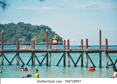 """Kota Kinabalu, Malaysia - August 28, 2017 : Beautiful view at """"Manukan Island"""" on weekend. Offshore of Manukan Island are coral reefs, which are ideal for snorkelling, diving and swimming."""