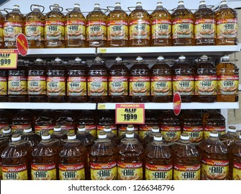 Kota Kinabalu, Malaysia - Dec 24, 2018 : cooking oil on the rack in the supermarket.