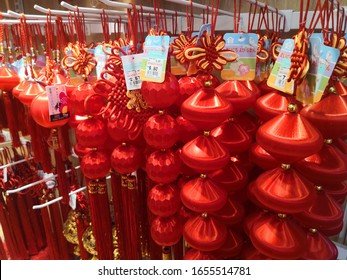 KOTA KINABALU, MALAYSIA - JANUARY 14, 2020 : Chines new year decoration on shelves in a supermarket.