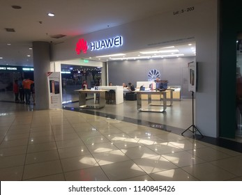 KOTA KINABALU, MALAYSIA - Julu 22, 2018: The Huawei store in the shopping mall. Huawei Technologies Co. Ltd, is a Chinese multinational networking, telecommunications equipment, and services company.