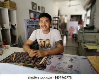 KOTA KINABALU, MALAYSIA- JULY 22, 2019 : Portrait of successful young business man in advertising industry in Sabah.