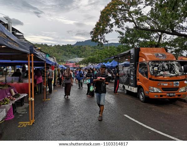KOTA KINABALU, MALAYSIA, June 1, 2018: Street scene at ramadan bazaar selling delicacies catered for iftar or buka puasa.