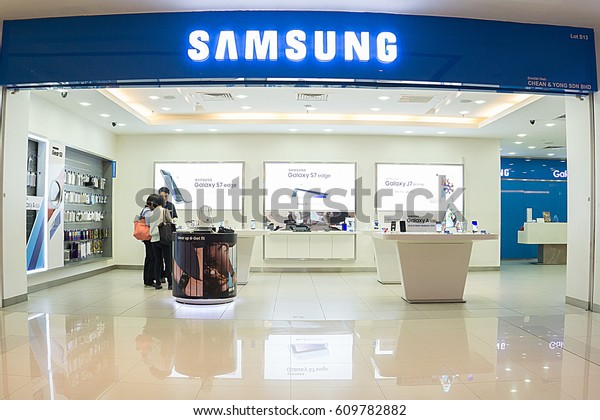 KOTA KINABALU, MALAYSIA - March 24, 2017: The Samsung store in the shopping mall. Samsung Electronics Co., Ltd. is the worlds second largest information technology company by revenue, after Apple.