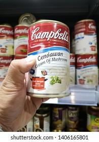 KOTA KINABALU, MALAYSIA- MAY 24, 2019: Selection of Campbells soup.