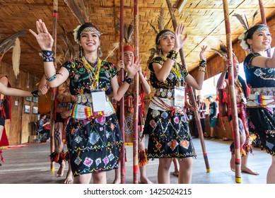 Kota Kinabalu, Malaysia - May 30, 2019: Kadazan Dusun Murut borneo native bamboo dancing performance during state level Harvest Festival in KDCA, Kota Kinabalu, Sabah Malaysia.
