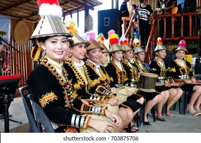 Kota Kinabalu , Malaysia - May 30, 2014: Group of dancer of Kadazan Dusun ethnic from Papar, an indigenous Sabah Borneo people during Harvest Festival in Kota Kinabalu, Sabah Borneo, Malaysia.