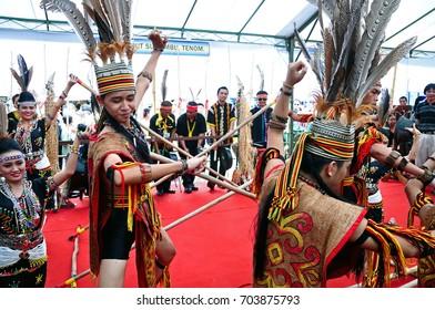 Kota Kinabalu , Malaysia - May 30, 2014: Kadazan Murut Magunatip dancers during Harvest Festival in Kota Kinabalu in Sabah.
