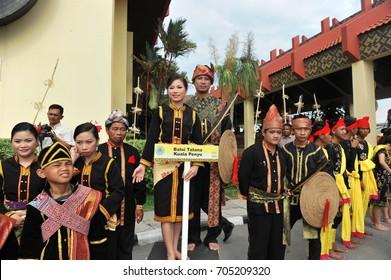 KOTA KINABALU, MALAYSIA - MAY 31, 2011: Group of people in their traditional costume during Sabah Harvest festival celebration in Kota Kinabalu, Sabah Borneo, Malaysia.