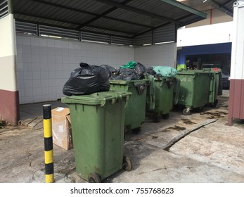 Kota Kinabalu, Malaysia - Nov 7, 2017: Editorial Use Only. Rubbish overflow outside thrash container and poor waste management.