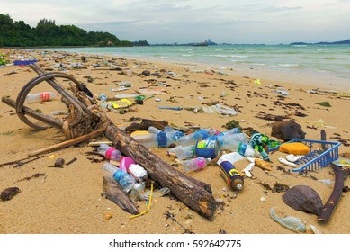 KOTA KINABALU, MALAYSIA - September 29, 2013: Rubbish and domestic waste polluting the beach in Kota Kinabalu. Garbage is one of the problems affecting the marine environments and coastal degradation