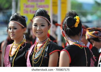 KOTA KINABALU, MALAYSIA-MAY 30, 2017: Beautiful Kadazandusun girls in traditional costume for Unduk Ngadau Kaamatan.It is a beauty pageant held annually during the Kaamatan cultural event in Sabah.